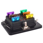IZTOSS F429-6-Z 6-Way Car Boat ATC ATO Fuse Block w/ LED, Fuses -Black