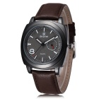 SKONE Glow-in-the-Dark PU Leather Band Quartz Watch - Coffee + Black