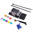 IZTOSS 6-Way Car Truck Automotive ATC ATO Fuse Block Holder Box w/ 10pcs Blade Fuses - Black
