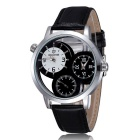 SKONE Men's Hollow-Out Genuine Leather Band Analog Quartz Watch - Black + White (1 x S377)