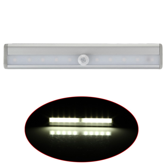 DIY Stick-on 10-LED White Wireless IR Sensor Closet Light - Silver