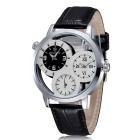 SKONE Men's Hollow-Out Genuine Leather Band Analog Quartz Watch - White + Black (1 x S377)