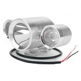 Motorcycle 30W 3 in 1 LED Spot Driving Front Colorful Light - Silver