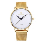 SKONE Women's Fashion Big Dial Waterproof Alloy Wristband Quartz Watch - Gold + White