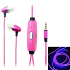 BL-13 In-Ear Earphone w/ Microphone / Visible EL Cold Light Twinkle with the Music Rhythm - Pink