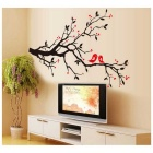 AY719 Love Birds Resting in Branches Pattern Wall Sticker - Black + Red