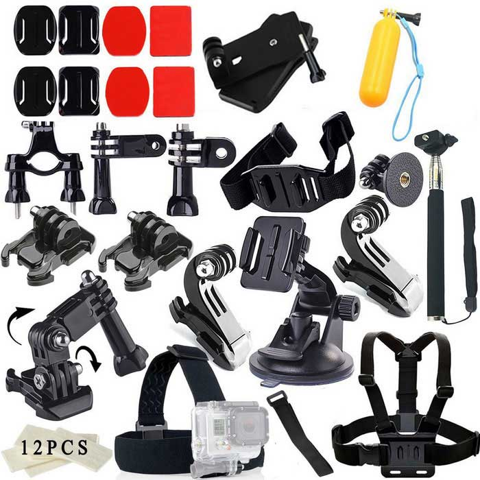 42-in-1 Camera Accessories Kit for GoPro Hero, SJ4000, SJ5000, SJCamMounting Accessories<br>Form  ColorBlackQuantity1 DX.PCM.Model.AttributeModel.UnitMaterialPlasticShade Of ColorBlackCompatible ModelsOthers,GoPro Hero 1,GoPro Hero 2,GoPro Hero 3,GoPro Hero 3+,GoPro Hero 4,SJCAM sj4000/sj5000/xiaoyiRetractableNoMax.Load1000 DX.PCM.Model.AttributeModel.UnitPacking List2 x Square mounts2 x Oval mounts2 x Square 3M glues2 x Oval 3M glues1 x Bag clip1 x Floating grip mount1 x Long pole1 x Short pole1 x Bike Handlebar Holder Mount 1 x Helmet Strap 1 x Retractable handheld monopod1 x GoPro Adapter;2 x Clamp2 x J-Shape1 x Suction Cup Mount1 x Three-way Adjustable Pivot Arm 12 x Anti-fog Insert for GoPro 1 x Headband1 x Wrist Strap1 x Chest strap5 x Long screws<br>