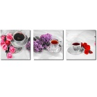 "Bizhen Frame-Free 3 Panels Rose & Coffee Painting Canvas Wall Decor Murals (59.06"" x 19.69"")"