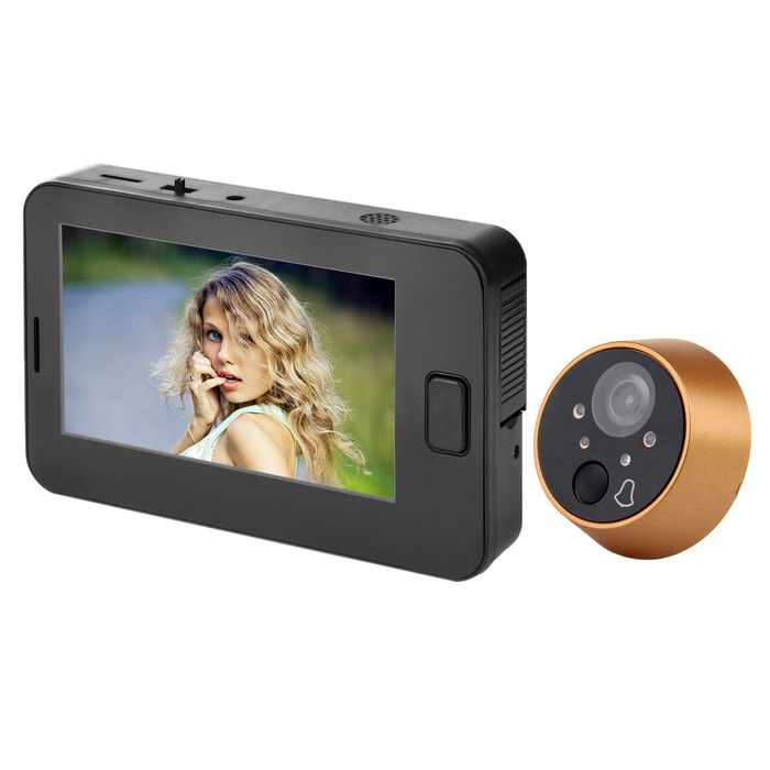 "4.3"" TFT Screen 3.0 MP CMOS 170 Degrees Digital Peephole Sonnette vidéo avec vision nocturne à 4 LED"