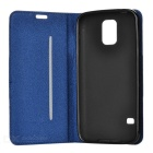 Anti-slip Matte PU + Silicone Case for Samsung S5 - Dark Blue + Grey