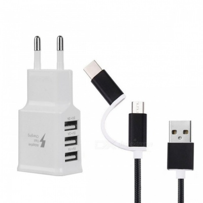 EU Plug Charger + USB 3.1 Type C Charging Data Cable - Black + White