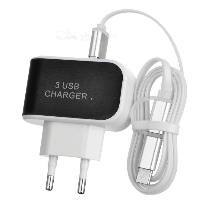 EU Plug Charger + USB 3.1 Type C Charging Data Cable - White + Black