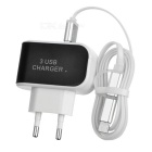 3-USB 5V 3.1A EU Plug Charger + 2-in-1 USB 3.1 Type C / Micro USB to USB 2.0 Charging Data Cable Set