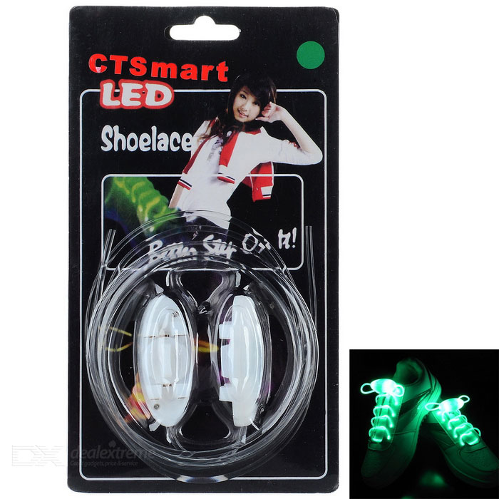 CTSmart Waterproof Green LED Luminous Glass Fiber Shoelace - WhiteBike Accessories<br>Form  ColorWhiteQuantity2 DX.PCM.Model.AttributeModel.UnitMaterialHigh light glass fiberTypeOthers,LED luminous shoelaceGenderUnisexWaterproofYesBest UseCycling,Recreational Cycling,Road Cycling,Others,Mountaineering and hikingOther FeaturesBuilt-in 1 x CR2032CertificationCEPacking List2 x Shoelaces<br>