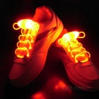 CTSmart Waterproof Red LED Luminous Glass Fiber Shoelace - White