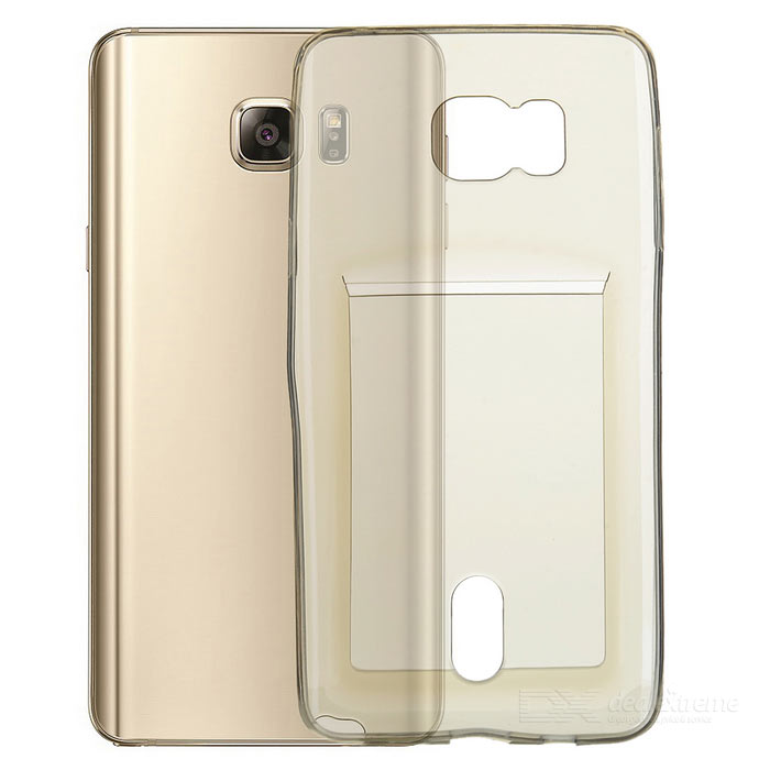 TPU Back Case w/ Card Holder for Samsung Note 5 - Transparent Grey