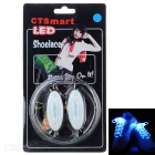 CTSmart Outdoor Cycling Accessory Waterproof Blue LED Luminous Glass Fiber Shoelace - White + Silver