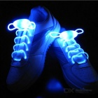CTSmart Waterproof Blue LED Luminous Glass Fiber Shoelace - White