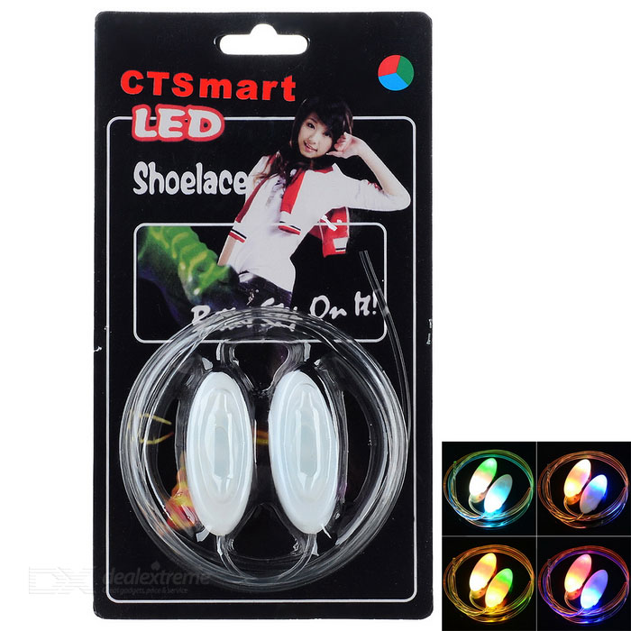 CTSmart Waterproof Colorful LED Luminous Glass Fiber Shoelace - White