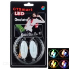 CTSmart Outdoor Cycling Accessory Waterproof Colorful LED Luminous Glass Fiber Shoelace - White