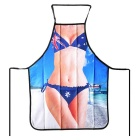 Bikini Wearing Girl Pattern Polyester Apron - Blue + Flesh Color + Multicolor