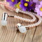 Pearl Necklace Style In-Ear Earphone w/ Mic for Phone, Computer - Pink