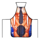 Creative Muscle Man Wearing Tie Pattern Polyester Apron - Brown + Black + Multicolor