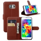 Wallet Case Cover w/ Stand / Card Slots for Samsung Galaxy S6 - Brown