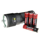 FandyFire R8 8-LED LED Flashlight w/ Battery + Charger - Silver + Grey