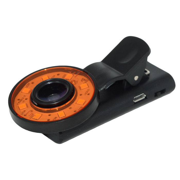 Universal 0.65X Magnification Wide Angle + Macro Clip-on Lens Kit w/ 2-Mode LED Light for Cellphone