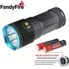 FandyFire R8 8-LED 7000lm High Bright LED Flashlight - Blue + Grey (4 x 18650 / 1 x 18650 Charger)