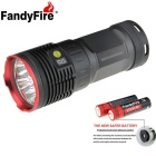FandyFire R8 8-LED 7000lm alta brillante linterna LED - Red + Grey (4 x 18650/1 x 18650 cargador)