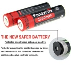 FandyFire R8 8-LED LED Flashlight w/ Battery + Charger - Red + Grey