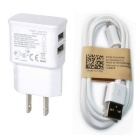 Universal 5V / 2A US Plug Power Adapter Charger + Micro USB Data Cable Set - White