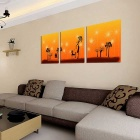 """Bizhen Frame-Free 3 Panels Abstract Painting Canvas Wall Decor Murals (59.06"""" x 19.69"""")"""