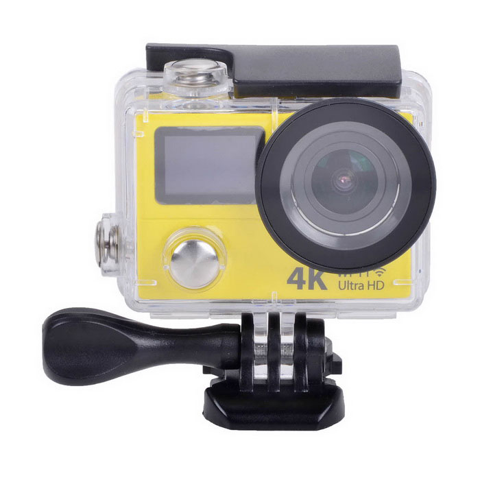 2-Screen Action Camera 12MP Mini Sport DV w/ 2 LCD, Wi-Fi,1080p,4KSport Cameras<br>Form  ColorYellowShade Of ColorYellowMaterialABSQuantity1 DX.PCM.Model.AttributeModel.UnitImage SensorCMOSImage Sensor Size2/3 inchesAnti-ShakeYesFocal DistanceNo DX.PCM.Model.AttributeModel.UnitFocusing RangeNoOptical ZoomNoDigital ZoomOthersBuilt-in SpeedliteNoSpeedlite RangeNoApertureNoAperture RangeNoWide Angle170° A+ HD wide-angle lensEffective Pixels12.0 MPImagesJPGStill Image Resolution12M (4608 x 2592); 8M (3760 x 2120); 5M (2976 x 1672); 4M (2648 x 1504)VideoMOVVideo Resolution4k @25fps; 2.7k @30fps; 1920*1080 pixels @60/30 fpsVideo Frame Rate15,30,60,120Audio SystemStereoCycle RecordYesISONoExposure Compensation-2;-1.7;-1.3;-1;-0.7;-0.3;0;+0.3;+0.7;+1;+1.3;+1.7;+2.0Scene ModeAutoWhite Balance ModeAutoSupports Card TypeTFSupports Max. Capacity32 DX.PCM.Model.AttributeModel.UnitBuilt-in Memory / RAMNoOutput InterfaceMicro USB,Micro HDMILCD ScreenYesScreen TypeTFTScreen Size2 DX.PCM.Model.AttributeModel.UnitBattery Measured Capacity 1050 DX.PCM.Model.AttributeModel.UnitNominal Capacity1050 DX.PCM.Model.AttributeModel.UnitBattery TypeLi-ion batteryBattery included or notYesBattery Quantity1 DX.PCM.Model.AttributeModel.UnitVoltage3.7 DX.PCM.Model.AttributeModel.UnitBattery Charging Timeabout 3 hoursLow Battery AlertsYesWater ResistantWater Resistant 3 ATM or 30 m. Suitable for everyday use. Splash/rain resistant. Not suitable for showering, bathing, swimming, snorkelling, water related work and fishing.Supported LanguagesEnglish,Traditional Chinese,Russian,Portuguese,Spanish,Italian,Korean,French,German,Others,Dutch, Polski, Japanese, ThaiCertificationCEPacking List1 x Wi-Fi Sports camera1 x Waterproof housing1 x Protective back case1 x Handle bar/ pole mount2 x Helmet bases 1 x Mount A1 x Mount B1 x Mount C1 x Mount D1 x Mount E1 x Mount F1 x Mount G1 x Clip A1 x Clip B2 x Bandages (36cm)  2 x Velcro straps (20cm)2 x Adhesive tapes4 x Cable ties1 x Lens cloth1 x Charger (EU plug; Input: 100~240V; Output: 5V, 1A)1 x USB Cable (60cm)1 x Li-ion Battery (3.7V, 1050mAh)1 x English user manual<br>