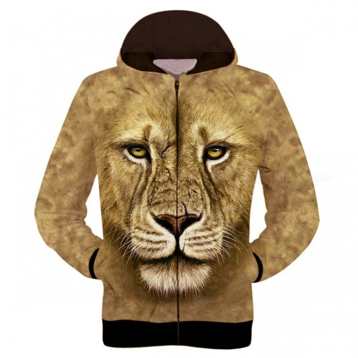 Fashionable 3D Printing Lion Pattern Hooded Jacket Coat - Brown (L)