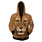 Fashionable 3D Printing Lion Pattern Hooded Jacket Coat - Brown (M)