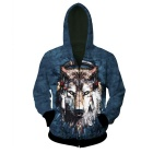 3D Printing Wolf Wearing Headphone Pattern Hooded Coat - Blue (XXL)