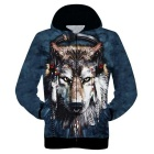 3D Printing Wolf Wearing Headphone Pattern Polyester Fiber Hooded Jacket Coat - Deep Blue (L)