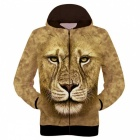 Fashionable 3D Printing Lion Pattern Polyester Fiber Hooded Jacket Coat - Brown (Size XXL)
