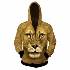 Fashionable 3D Printing Lion Pattern Hooded Jacket Coat - Brown (XXL)
