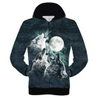 3D Printing Wolves Howl to the Moon Pattern Hooded Coat - Green (M)