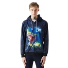 3D Printing Dinosaur Pattern Hooded Coat - Dark Blue + Black (L)