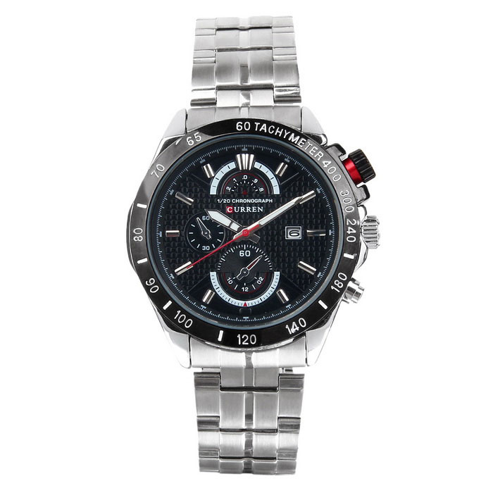 CURREN Mens Stainless Steel Band Quartz Watch - Silver + BlackQuartz Watches<br>Form  ColorSilver+BlackModel8148Quantity1 DX.PCM.Model.AttributeModel.UnitShade Of ColorSilverCasing MaterialStainless steelWristband MaterialStainless steelSuitable forAdultsGenderMenStyleWrist WatchTypeFashion watchesDisplayAnalogBacklightNOMovementQuartzDisplay Format12 hour formatWater ResistantWater Resistant 3 ATM or 30 m. Suitable for everyday use. Splash/rain resistant. Not suitable for showering, bathing, swimming, snorkelling, water related work and fishing.Dial Diameter4.5 DX.PCM.Model.AttributeModel.UnitDial Thickness1.2 DX.PCM.Model.AttributeModel.UnitWristband Length25 DX.PCM.Model.AttributeModel.UnitBand Width2 DX.PCM.Model.AttributeModel.UnitBattery1 x LR626 battery (include)Packing List1 x Watch<br>