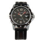 CURREN Men's Fashion Cow Split Leather Strap Waterproof Analog Quartz Watch w/ Calendar - Black