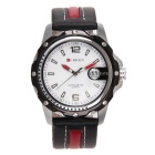 CURREN Men's Waterproof Leather Strap Analog Quartz Watch w/ Calendar - White + Black (1 x LR626)