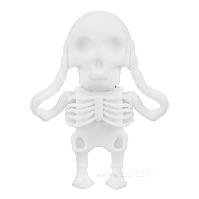Skull Skeleton Style USB 2.0 Flash Drive - White (8GB)USB Flash Drives<br>Form ColorWhiteCapacity8GBBrandOthersModelN/AMaterialSilicone + ABSQuantity1 DX.PCM.Model.AttributeModel.UnitShade Of ColorWhiteMax Read Speed6MB/sMax Write Speed3MB/sUSBUSB 2.0With IndicatorNoPacking List1 x USB flash drive<br>
