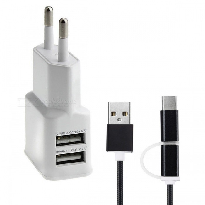 5V / 2A adaptador de corriente + USB 3.1 tipo C cable de datos - blanco (enchufe eu)