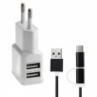 Universal 5V / 2A Power Adapter Charger + USB 3.1 Type C / Micro USB Data Cable - White (EU Plug)
